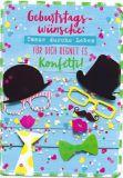 HARTUNG EDITION Geburtstagswünscche / confetti + hats + glasses  IN TOUCH postcard