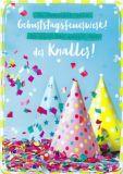 HARTUNG EDITION Geburtstagsfeuerwerk / Partyhüte mit Konfetti IN TOUCH Postkarte