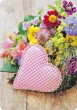 HARTUNG EDITION checkered heart with flowers MEDLEY postcard