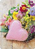 HARTUNG EDITION Kariertes Herz mit Blumen MEDLEY Postkarte