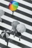 ABC people with umbrellas black white MOMENTS OF COLOUR postcard