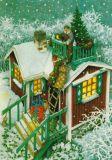 TAURUS-KUNSTKARTEN Frauen schmücken Haus für Weihnachten - Inge Löök Postkarte
