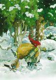 TAURUS-KUNSTKARTEN Zwerg mit Vogelfutter im Schnee - Inge Löök Postkarte