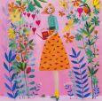 GOLLONG Frau mit Gießkanne und Blumen - Mila Marquis Postkarte