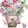 GOLLONG flowers in pot - Sabrina Comizzi postcard