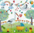GOLLONG Störche mit Kinderwagen - Mila Marquis Postkarte