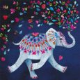 GOLLONG elephant with colourful heart blossoms - Mila Marquis postcard