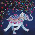 GOLLONG Elefant mit bunten Herzblüten - Mila Marquis Postkarte