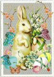 TAUSENDSCHÖN Easter bunny with spring flowers postcard