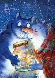 LOVELYCARDS Winterzauber / Katzenelfen im Glas - Rina Zenyukov Postkarte