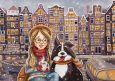 LOVELYCARDS Mädchen + Hund vor Häusern - Ema Malyauka Postkarte