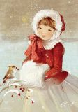 LOVELYCARDS girl with bird + berries - Catherine Babok postcard
