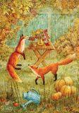 LOVELYCARDS Füchse am Tisch - Galina Egorenkova Postkarte