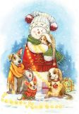 LOVELYCARDS Schneemann mit Hunden - Evgenia Chistotina Postkarte