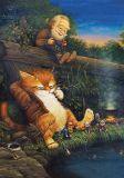 LOVELYCARDS Angeln / Katze - Alexander Maskaev Postkarte