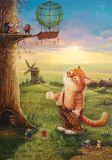 LOVELYCARDS Katze mit Mäuseballon - Alexander Maskaev Postkarte