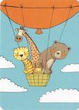 GUTRATH Tiere im Heißluftballon Postkarte
