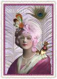 TAUSENDSCHÖN Dame mit Pfauenfeder + Vogel Postkarte