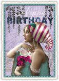TAUSENDSCHÖN Happy Birthday / Frau mit pinken Blättern Postkarte