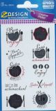 Z-Design Bon Appetit / Guten Appetit Sticker m. Goldprägung