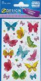 Z-Design Bunte Schmetterlinge Sticker m. Goldprägung