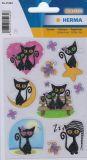 Herma Schwarze Katzen Glitterfolien Sticker