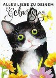GOLLONG Alles Liebe zum Geburtstag / schwarz-weiße Katze - Carola Pabst Postkarte