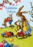 GOLLONG Fröhliche Ostern / Spielende Hasen - Carola Pabst Postkarte
