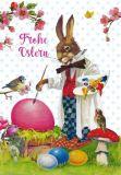GOLLONG Frohe Ostern / Hase bemalt Eier - Carola Pabst Postkarte