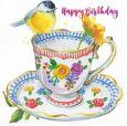 GOLLONG Happy Birthday / Vogel auf Tasse - Carola Pabst Postkarte