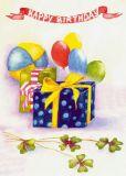 FLORIS Happy Birthday / Geschenke + Luftballons Klappkarte m. Umschlag