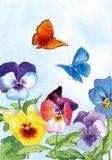 FLORIS Bunte Veilchen + Schmetterlinge Klappkarte m. Umschlag