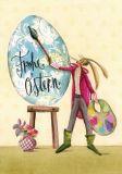 GRÄTZ Frohe Ostern / Osterhase als Maler mit Ei - Silke Leffler Postkarte