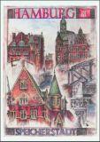 OLE WEST Hamburg Speicherstadt Postkarte