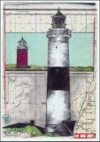 OLE WEST Kampen and old cross light postcard