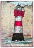 OLE WEST Roter Sand light house postcard