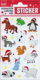 BSB animals with Christmas caps stickers