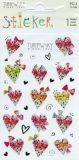 BSB hearts with bowls with fine foil embossing stickers
