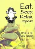 sheepworld Eat. Sleep. Relax. ... repeat! This is all you need! postcard