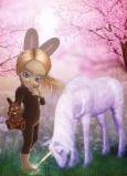CONNY DAMBACH Mädchen in Hasenkostüm + Einhorn Postkarte