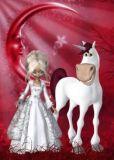 CONNY DAMBACH Einhorn + Elfe mit rotem Mond Postkarte