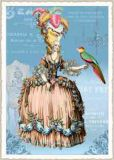 TAUSENDSCHÖN lady in rococo dress + parrot postcard