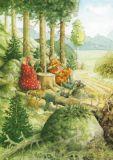 TAURUS-KUNSTKARTEN Frauen spielen Karten im Wald - Inge Löök Postkarte