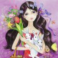 TAURUS-KUNSTKARTEN girl with bunnies and flower bouquet - Kristiana Heinemann postcard