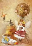 LOVELYCARDS Fee mit Kaffee - Catherine Babok Postkarte