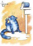 ACARDS cat with milk on floor - Irina Zeniuk postcard