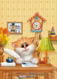 ACARDS cat writes letter at table  - Alexey Dolotov postcard