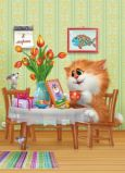 ACARDS cat at table with picture + gifts / women day  - Alexey Dolotov postcard