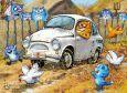 ACARDS chicken hunt in car - Irina Zeniuk postcard