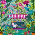 GOLLONG woman on porch swing in garden - Mila Marquis postcard